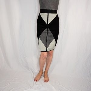 OCTAVIO PIZARRO Geometric Black Knit Pencil Skirt